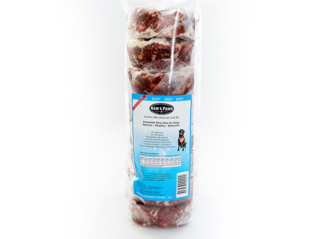 Raw 4 Paws Beef Patties 8 x 250g raw beef patties for dogs