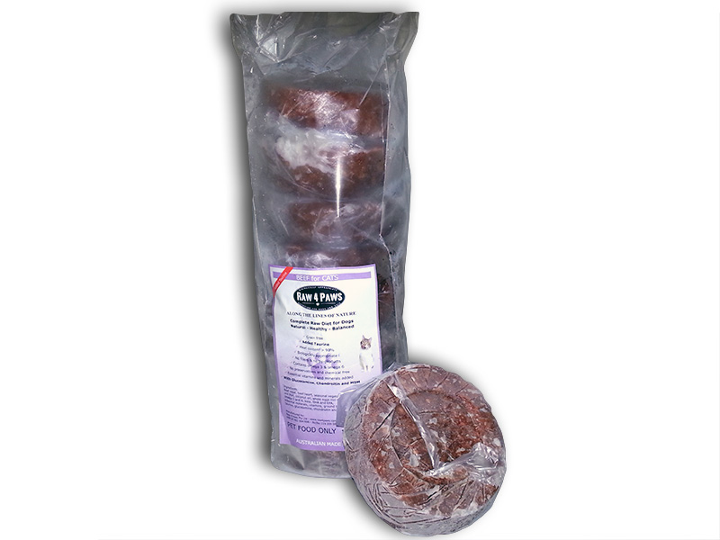 Raw 4 Paws Cat Beef Patties BARF 1.6kg