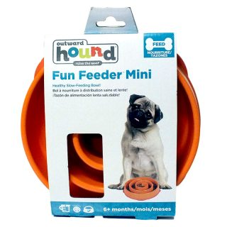 Outward Hound Kyjen Slow Feeding Bowl Mini - Orange