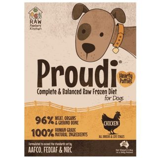 Proudi Raw Frozen Chicken Patties for Dogs