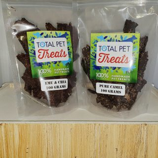 2 Pack of all natural Australian made dog and cat treats, emu, camel