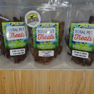 3 Pack of all natural Australian made dog and cat treats, emu, goat and green tripe, camel