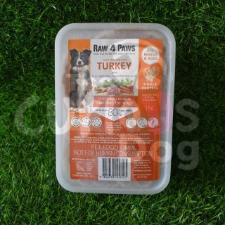 Raw 4 Paws Turkey Container 1kg raw food for dogs