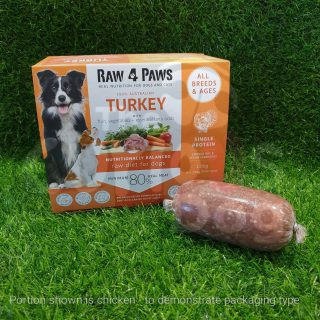 Raw 4 Paws Turkey Portions 1.6kg raw food barf for dogs